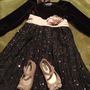 NWOT 4T Tea Length Brown & Pink Formal Dress